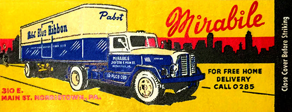 Mirabile Beer Distributors - 1950's - Morristown PA - Matchbook Advertising Poster