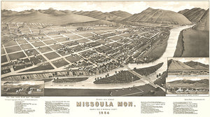 Missoula, Montana - 1884 - Aerial Bird's Eye View Map Poster