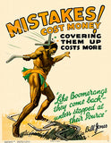 Mistakes Cost Money - Boomerang - 1928 - Bill Jones Work Motivation Poster