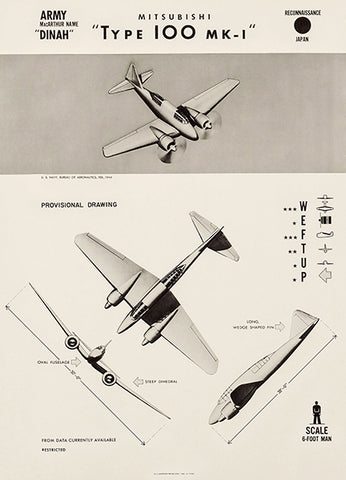 Mitsubishi Type 100 - Dinah - 1944 - World War 2 - Aircraft Recognition Poster