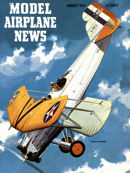 Model Airplane News - Curtis Helldiver - January 1954 - Magazine Cover Poster