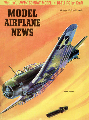 Model Airplane News - Douglas Dauntless -  October 1959 - Magazine Cover Poster