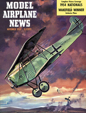 Model Airplane News - Fokker D-7 - November 1954 - Magazine Cover Poster