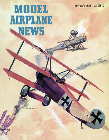 Model Airplane News - Fokker Triplane - November 1953 - Magazine Cover Poster