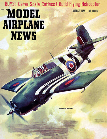 Model Airplane News - Grumman Wilcat - August 1955 - Magazine Cover Poster