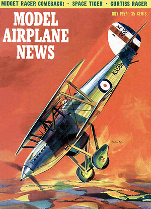 Model Airplane News - Hawker Fury -  July 1957 - Magazine Cover Poster