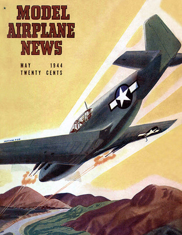 Model Airplane News - Mustang P-51 B - May 1944 - Magazine Cover Poster