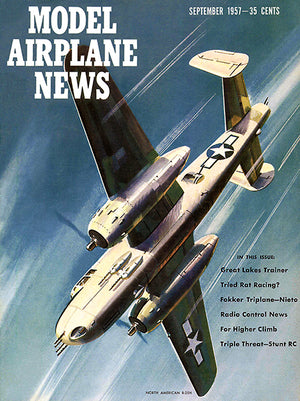 Model Airplane News - North American B-25 H -  September 1957 - Magazine Cover Poster