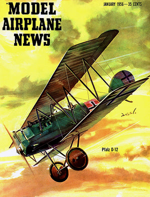 Model Airplane News - Pfalz D-12  - January 1956 - Magazine Cover Poster