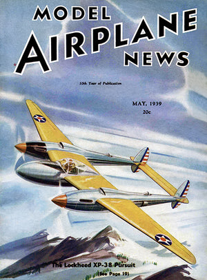 Model Airplane News - The Lockheed XP-38 Pursuit - May 1939 - Magazine Cover Poster