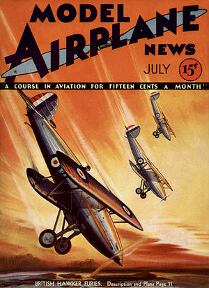 Model Airplane News  Hawker Furies - July 1932 - Magazine Cover Poster