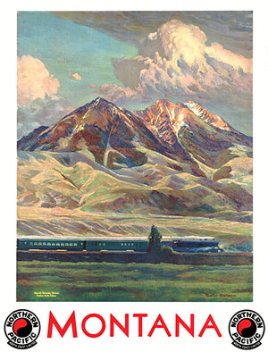 Montana - Absaroka Range - Northern Pacific Railway - 1930's - Travel Poster Magnet