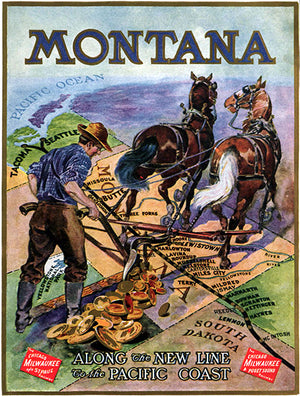 Montana - Along The New Line - Train Railway - 1912 - Travel Poster Magnet