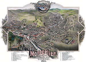 Montpelier, Washington County, Vermont - 1884 - Aerial Bird's Eye View Map Poster