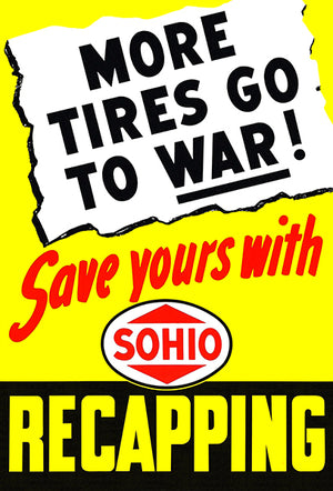 More Tires Go To War - 1945 - World War II - Propaganda Mug