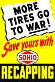 More Tires Go To War - 1945 - World War II - Propaganda Poster