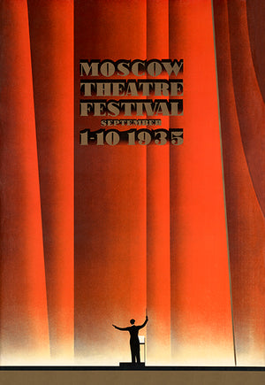 Moscow Theater Festival Russia - 1935 - Travel Poster Magnet