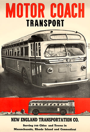 Motor Coach Transport Bus - New England - 1940's - Travel Poster
