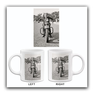 Motorcycle Mama on Vintage Harley Davidson Motorcycle - Mug