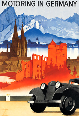 Motoring In Germany - Automobile - 1920's - Travel Poster Magnet