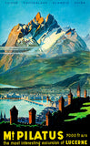 Mt. Pilatus - Switzerland - Late 1940's - Travel Poster Magnet