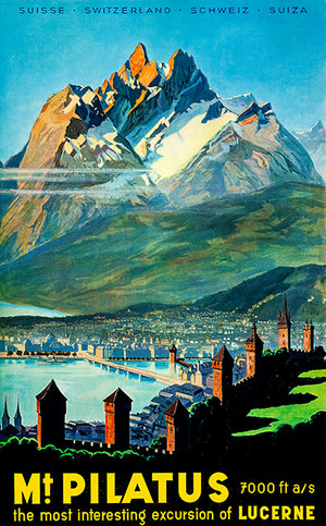 Mt. Pilatus - Switzerland - Late 1940's - Travel Poster