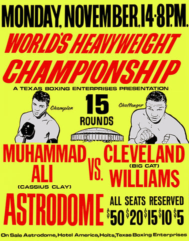 Muhammad Ali vs Cleveland Williams - 1966 - Fight Promotion Poster