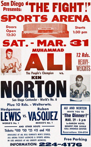 Muhammad Ali vs Ken Norton - 1973 - Fight Promotion Poster