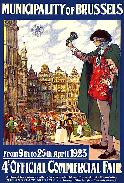 Municipality Of Brussels Belgium - Commercial Fair - 1923 - Travel Poster