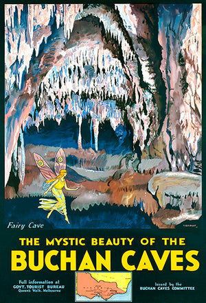 Mystic Beauty Of Buchan Caves - Victoria, Australia - 1940's - Travel Poster Magnet
