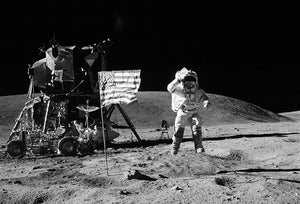 NASA - 1972 - Apollo 16 EVA - Astronaut John W. Young Salute US Flag - Moon Landing - Space Photo Poster