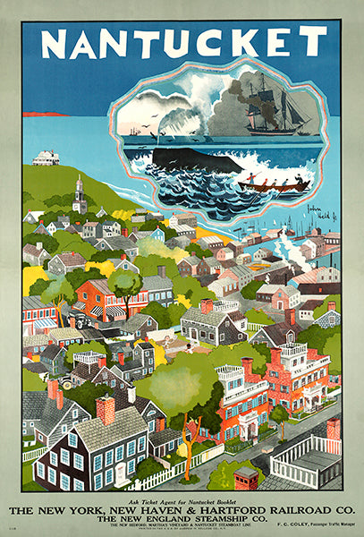 Nantucket Island - Massachusetts - 1950's - Travel Poster Magnet
