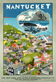 Nantucket Island - Massachusetts - 1950's - Travel Poster