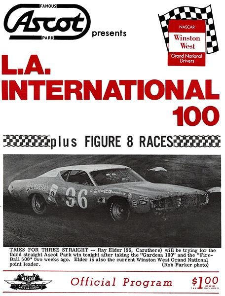 Nascar - L. A. International 100 - Ascot Park - 1975 - Program Cover Mug