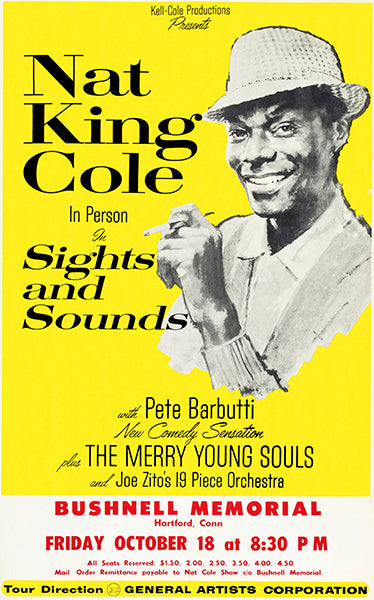 Nat King Cole - Sights & Sounds - 1963 - Hartford CT - Concert Poster