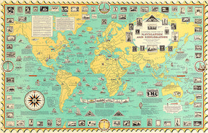 Navigation And Exploration - Ships - 1951 - Pictorial World Map Poster