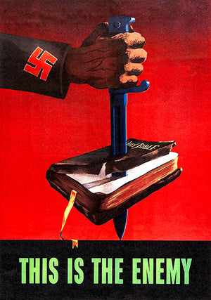 Nazi - This Is The Enemy - Holy Bible - 1943 - World War II - Propaganda Magnet