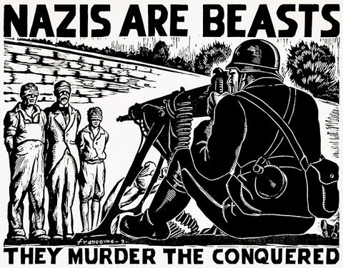 Nazis Are Beasts - 1942 - World War II - Propaganda Poster