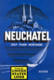 Neuchatel, Switzerland - US Lines - 1950's - Travel Poster Magnet