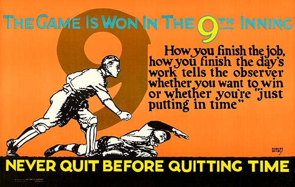 Never Quit - The Game is Won in the 9th Inning - 1923 - Motivational Mug