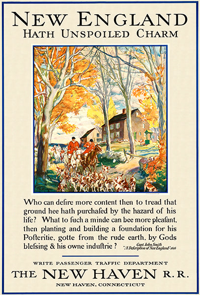New England Hath Unspoiled Charm - New Haven R. R. - 1950's - Travel Poster Magnet
