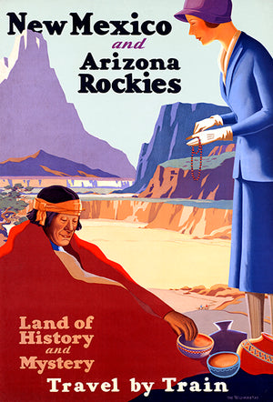 New Mexico & Arizona Rockies - Land History Mystery - 1925 - Travel Poster Magnet