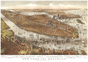 New York And Brooklyn - 1875 - Aerial Bird's Eye View Map Poster