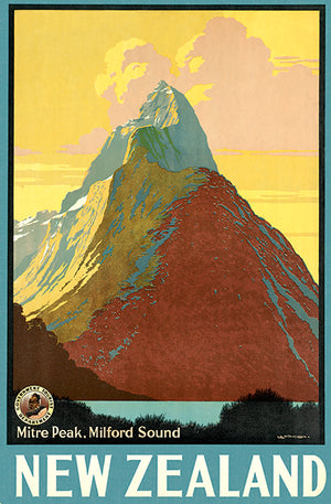 New Zealand - Mitre Peak, Milford Sound - 1940's - Travel Poster