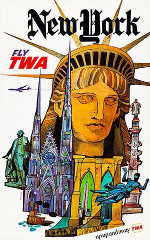 New York - Fly TWA - 1960's - Travel Poster Magnet