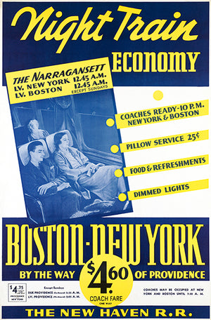 Night Train Economy - Boston - New York - 1940's - Travel Poster