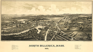 North Billerica, Massachusetts - 1887 - Aerial Bird's Eye View Map Poster