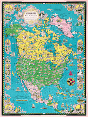 North America - 1945 - Pictorial Map Poster