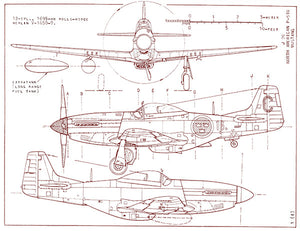 North American P-51D Mustang - Blueprint Poster