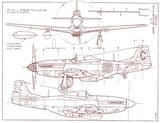 North American P-51D Mustang - Blueprint Magnet